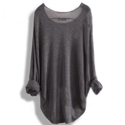 Fashion Loose Hollow Knit Shirt Blo..